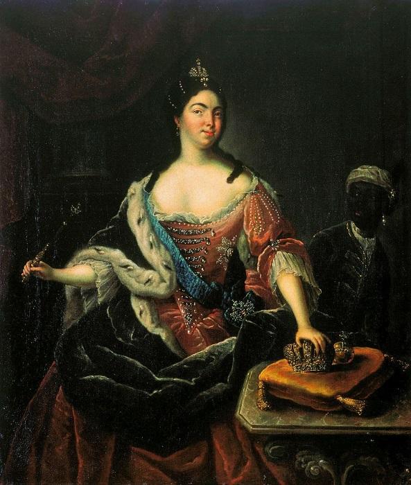 Екатерина I с молодым арапом.